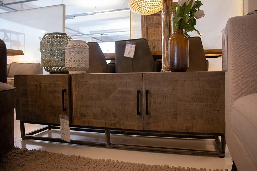 17. Tv-meubel, massief mango grijs antiek